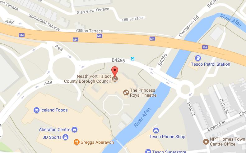 Location map Neath Port Talbot Civic Centre