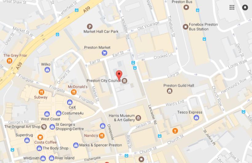 Town Hall,Lancaster Road,Preston - location map