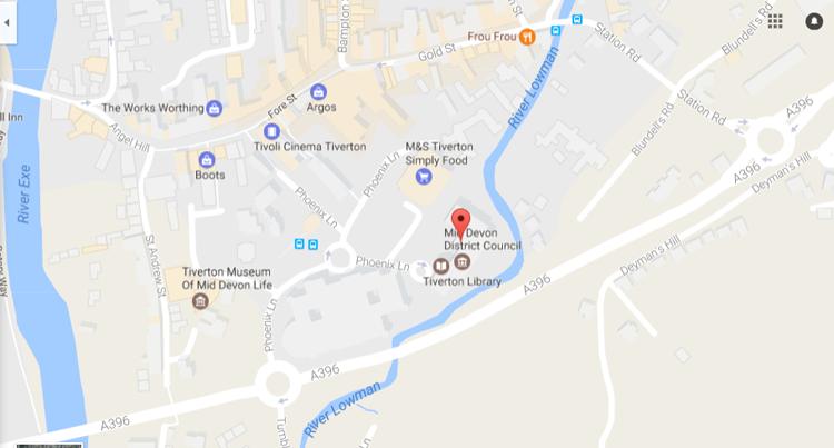 Council Chamber,Phoenix House,Phoenix Lane,Tiverton - location map