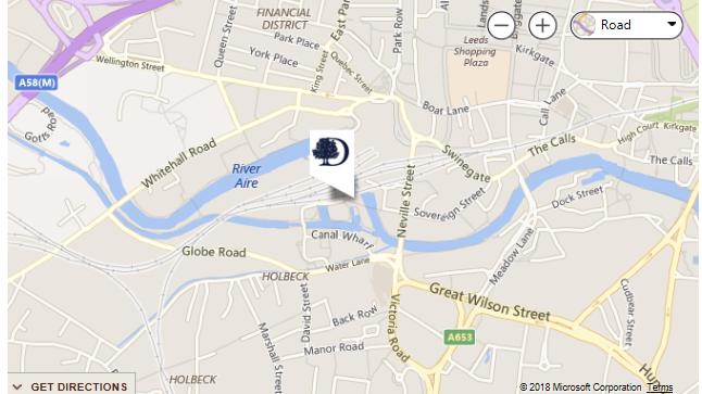 Location map Double Tree Leeds City Centre
